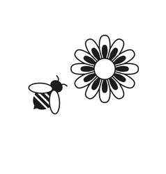Bee and flower icons vector