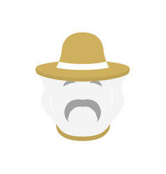 beekeeper with protect hat icon men farmer face vector image