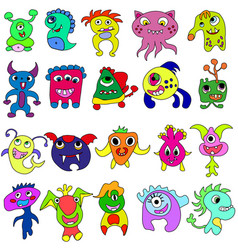 Big set of cartoon cute monsters vector