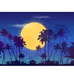 Big yellow moon with dark palms silhouettes on vector image
