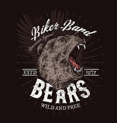 Biker band club badge roaring wild bear vector