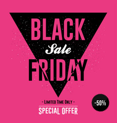 black friday sale banner with discount design vector image
