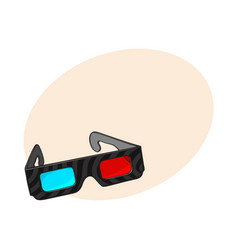 Blue and red stereoscopic 3d glasses in black vector