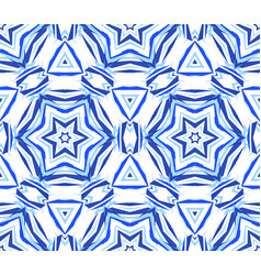 Blue background kaleidoscopic star pattern vector