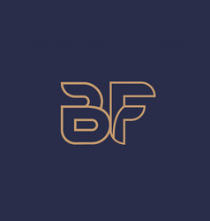 Brown blue line alphabet letter bf b f logo vector