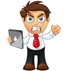 Business Man Angry With Tablet vector image