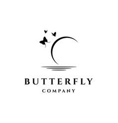 Butterfly moon logo design vector