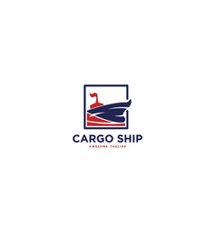 cargo ship logo design inspiration vector image