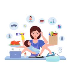 Cartoon character multitasking busy mom vector