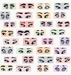 cartoon eyes colors vector image