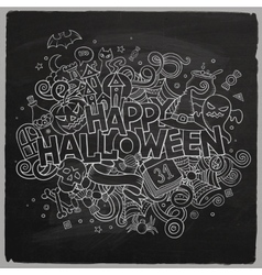 Cartoon hand drawn Doodle Happy Halloween vector image