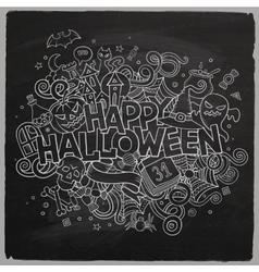 Cartoon hand drawn Doodle Happy Halloween vector