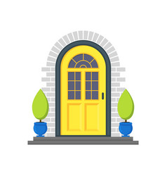 cartoon yellow front door of house vector image