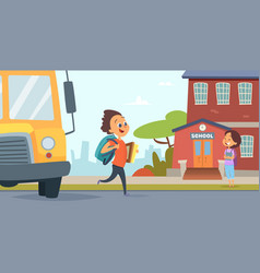 children go to school background back vector image