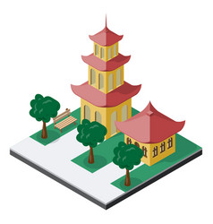 Chinese pagoda buildings with trees and bench in vector