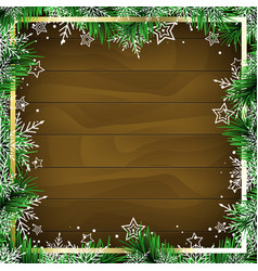Christmas frame with wooden background vector