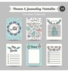 Christmas Printable Journaling Cards Line Style vector image