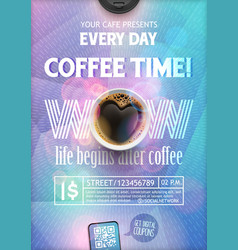 Coffee time flyer template vector