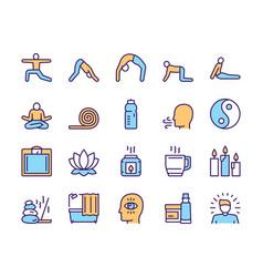 Color linear icon set yoga lifestyle vector