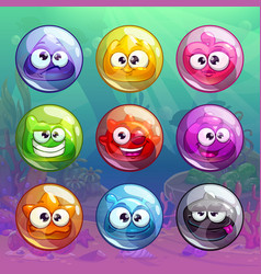 colorful transparent bubbles with funny characters vector image