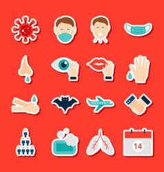 coronavirus prevention stickers vector image