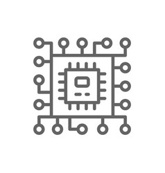 cpu microprocessor computer chip line icon vector image