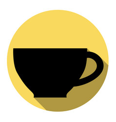 cup sign flat black icon with flat shadow vector image