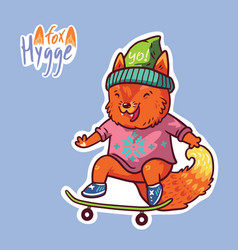 Cute baby fox on a skateboard cute decorative vector