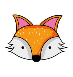 Cute fox head wild animal vector