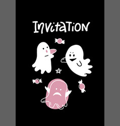 cute ghosts halloween greeting card white vector image