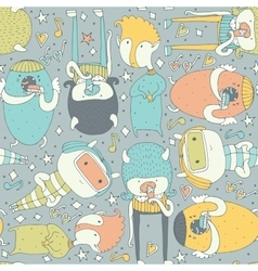 Cute seamless pattern with lovely doodle monsters vector