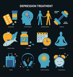 Depression treatment concept icons set in flat vector