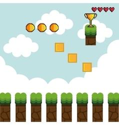 display game pixel interface vector image
