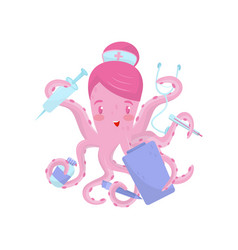doctor or nurse octopus with medical items in vector image
