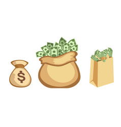 Dollar paper business finance money stack in bag vector