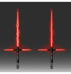 Fantastic weapons in red and blue colors isolated vector