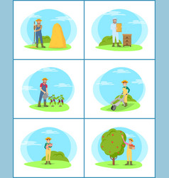 Farming person with pitchfork vector
