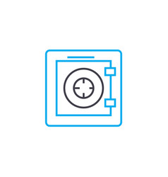 Fireproof safe thin line stroke icon vector