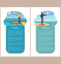 Fishing poster with headlines vector