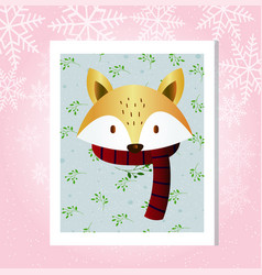 flat fox in a scarf close-up vector image