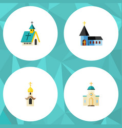 Flat icon christian set of structure architecture vector