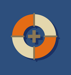 Flat icon design lifebuoy with medical cross in vector