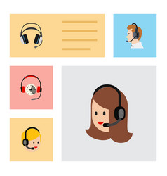 Flat telemarketing set of call center earphone vector
