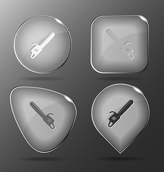Gasoline-powered saw glass buttons vector
