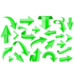 green arrows shiny 3d signs vector image