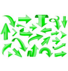 Green arrows shiny 3d signs vector
