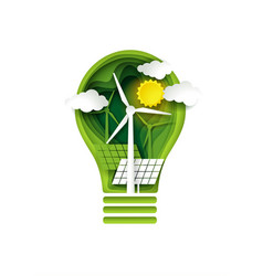 green energy concept paper cut vector image
