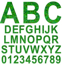 Green rectangle mosaic textured font set vector