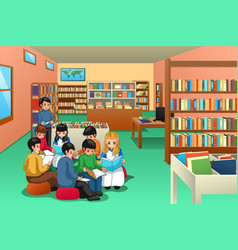 Group school kids studying in library vector