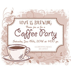 Hand drawn coffee party invitation card vintage vector